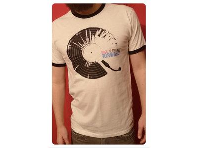 White ringer T-shirt with black album logo main photo