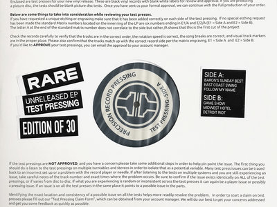 CUSTOMER COPY EP / RARE test pressing (edition of 30) main photo