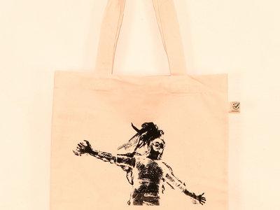BUBBLE BOY BAG - screenprint, organic, vegan, fair trade - handmade jute bag main photo