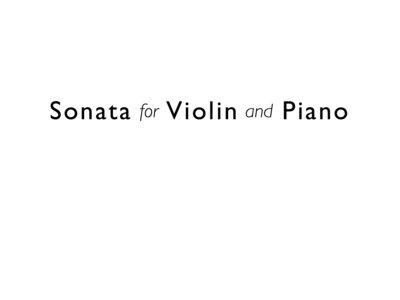Sonata for Violin and Piano (score and part) main photo