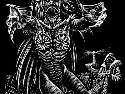 'The Maiden' design T-shirt (white on black) main photo