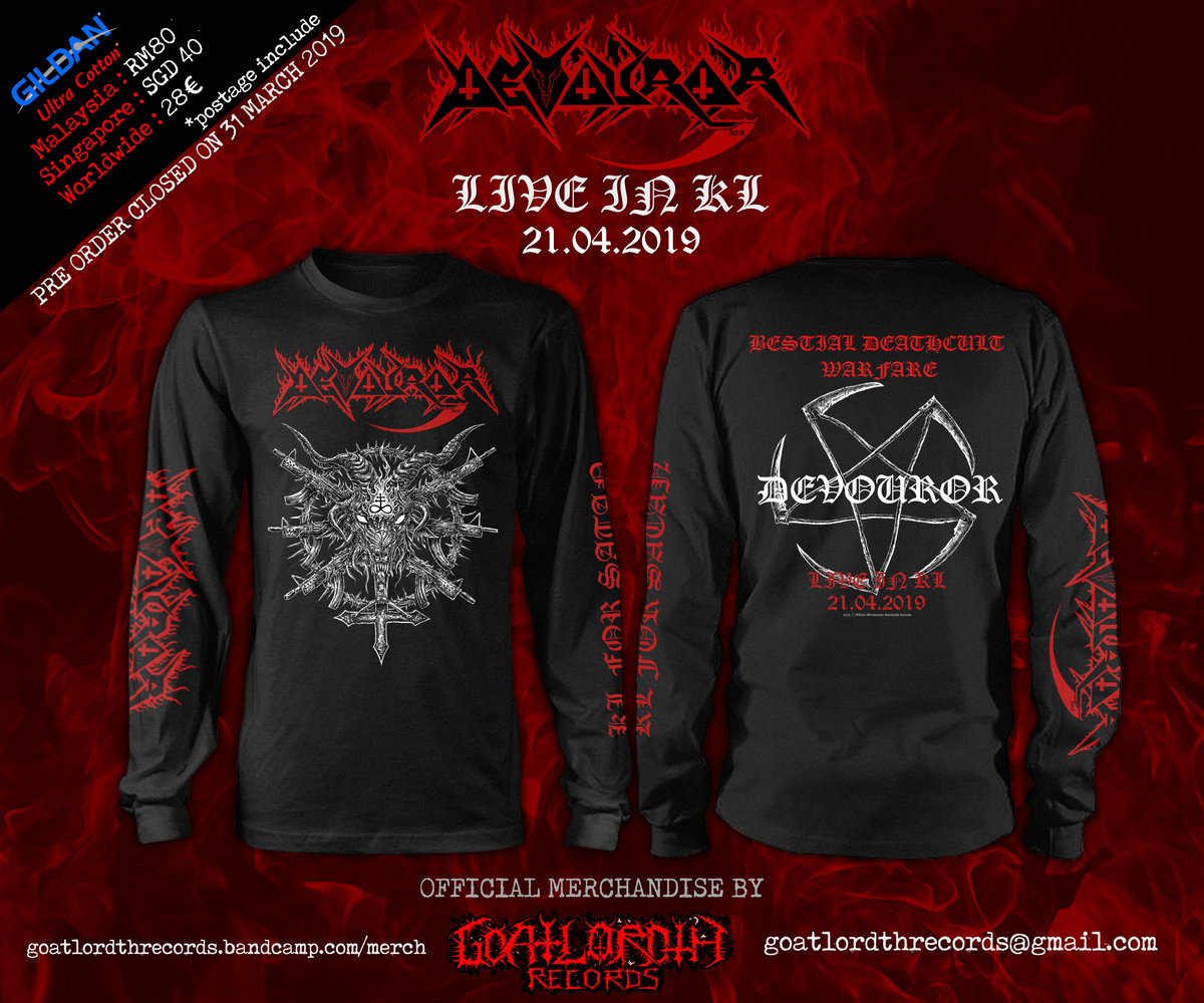 DEVOUROR KL For Satan Long Sleeve T-shirt | goatlordthrecords