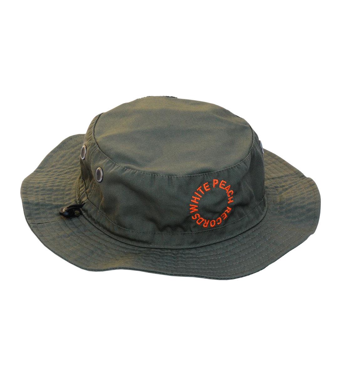 Wpt014 Green Bucket Hat W Orange Embroidery White Peach