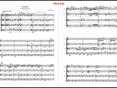 Tango, for String Quartet [SCORE] | Amit Poznansky