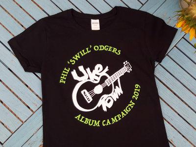 Uke Town Black T-shirt with Green & White Print main photo
