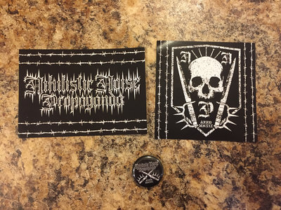 Nihilistic Noise Propaganda Label Logo Stickers and Pin Bundle main photo
