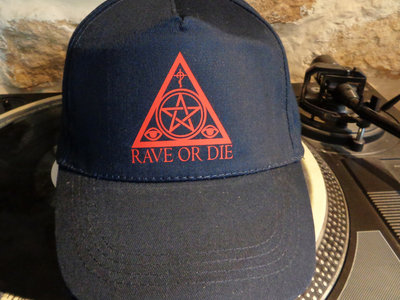 RAVE OR DIE cap - DARK BLUE with red logo main photo