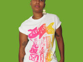 Pink to Yellow Gradient on White T Shirt photo