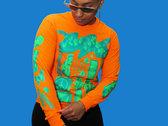 Blue & Green on Fluo Orange Long Sleeve photo