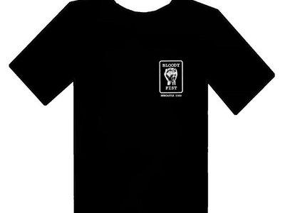BLOODY FIST Blokes Bogan Black T-Shirt - Original Logo (Front Logo & Back Text Print) main photo