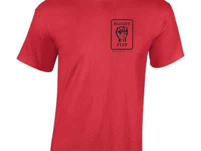 BLOODY FIST Blokes Bogan Red T-Shirt - Original Logo (Front Logo & Back Text Print) main photo