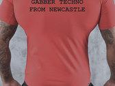 BLOODY FIST Blokes Bogan Red T-Shirt - Original Logo (Front Logo & Back Text Print) photo