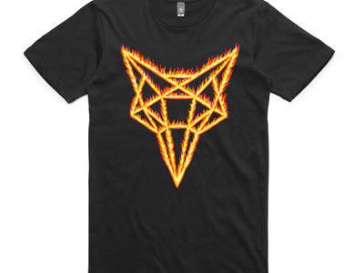 Red Flaming Fox on Black Tee main photo