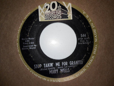 STOP TAKING ME FOR GRANTED - MARY WELLS - VG- main photo