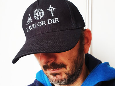 new ! Black organic cotton RAVE OR DIE CAP with ROD embroidered logo main photo
