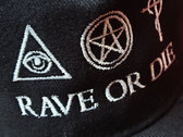 new ! Black organic cotton RAVE OR DIE CAP with ROD embroidered logo photo