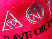new ! Red organic cotton RAVE OR DIE CAP with ROD embroidered logo photo
