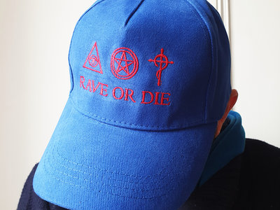 new ! Royal blue organic cotton RAVE OR DIE CAP with embroidered logo main photo