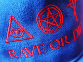 new ! Royal blue organic cotton RAVE OR DIE CAP with embroidered logo photo