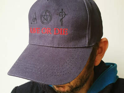 new ! Navy organic cotton RAVE OR DIE CAP with ROD embroidered logo main photo