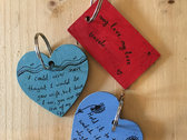 Hand painted wooden lyric keyrings photo
