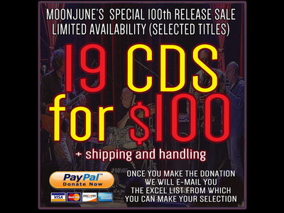 100th MOONJUNE RECORDS RELEASE SPECIAL: 19 CDs FOR $100 (+ shipping and handling) main photo