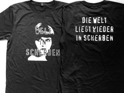 Welt In Scherben T-Shirt EarthPositive™ Organic Cotton black with print on front and back main photo