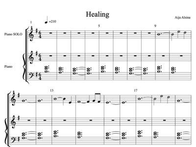 Healing - Sheet Music Piano Solo + Digital Track main photo