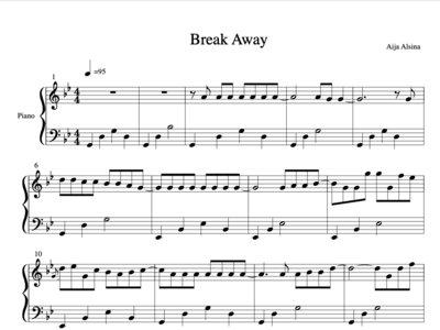 Break Away - Sheet Music Piano Solo + Digital Track main photo