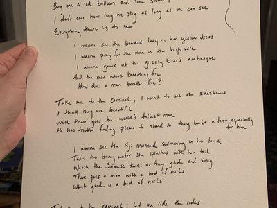 "Handwritten Lyrics - Songs from ""Carnival"" main photo"