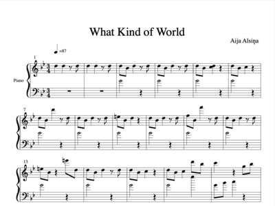 What Kind of World - Sheet Music Piano Solo main photo
