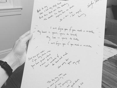"""Handwritten lyrics - songs from """"Wake"""" main photo"""