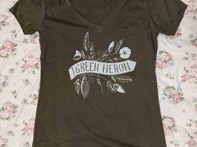 Green Heron Women's V-Neck T-Shirt (Olive) main photo