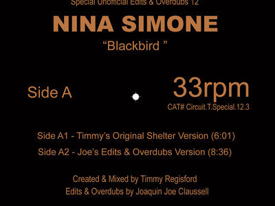 """A Special Unofficial Edits, Overdubs & Unreleased Remixed Presents: Nina Simone """" Blackbird """" 12inch Yellow Colored Vinyl Release. FIRST COME, FIRST SERVE. main photo"""