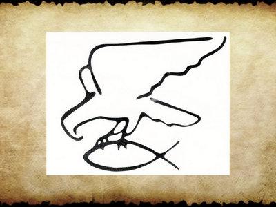Aufkleber Adler-Fisch, ws / sw, 11x9 cm main photo