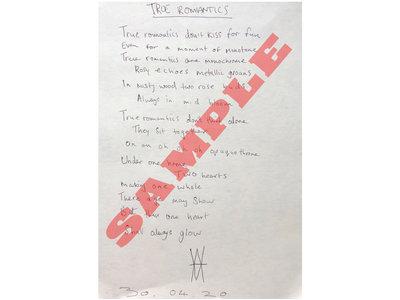 True Romantics - HANDWRITTEN + SIGNED lyric sheet by William main photo