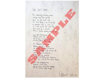 The Last Thing - HANDWRITTEN + SIGNED lyric sheet by Larissa main photo
