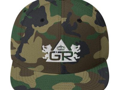 Gravitas Snapback Hat - White on Green Camo main photo