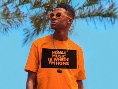 Man, Orange T-shirt, with House Music is where I'm Home main photo