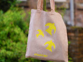 Pink cotton tote bag with hand printed yellow birds dyed with Avocado stones photo