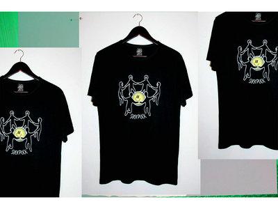 """Screen-printed """"SMILY ROUND DANCE"""" black t-shirt main photo"""