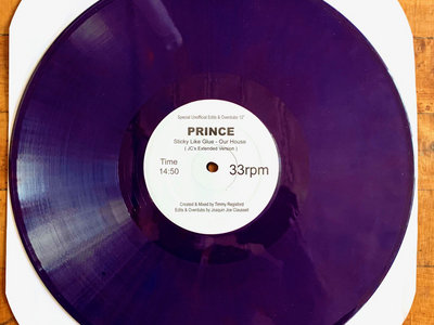 "A Special Unofficial Edits & Overdubs - PRINCE (Sticky Like Glue) "" This House is Ours "" -  12"" PURPLE VINYL main photo"