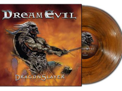 "Dream Evil - Dragonslayer Limited Edition 12"" Transparent orange/black marble vinyl main photo"