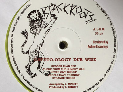 BLACK ROOTS PLAYERS 'GHETTO-OLOGY DUBWISE LP' Ltd New Reprinted Sleeve - Back In Stock. main photo