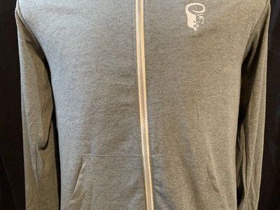 Grey Lightweight Hoodie with White Embroidered Logo main photo