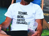White T-shirt : Techno, Biere, Frites, Fricadelle. photo