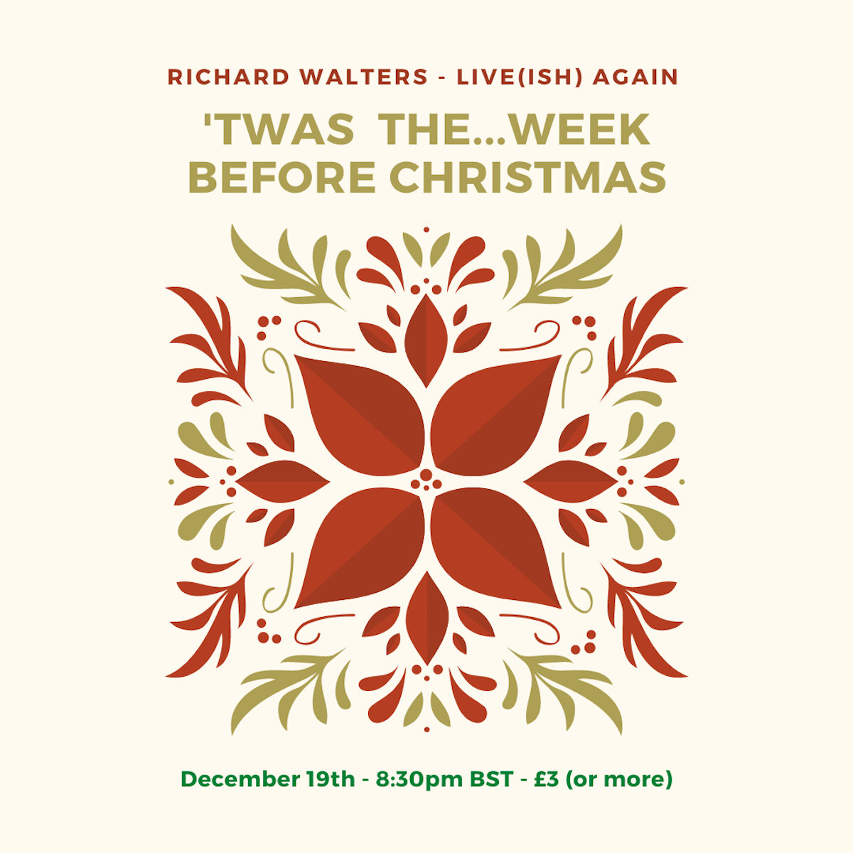 Christmas Concerts Near Me December 19th 2020 Richard Walters: Live(ish) Christmas Concert   Sat 19th Dec 2020