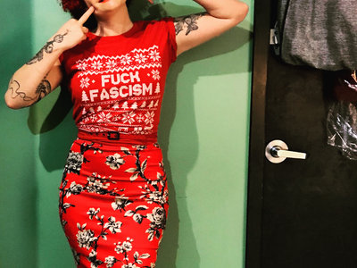 """Fuck Fascism"" Holiday Tee: Red, Unisex main photo"