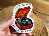 'Support indie folk musicians' & 'Just playing an old folk song' x2 Stickers + Download photo