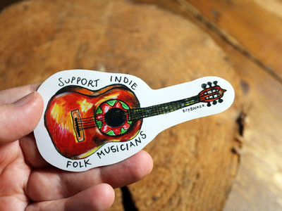 'Support indie folk musicians' & 'Just playing an old folk song' x2 Stickers + Download main photo